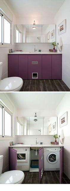 Washer/dryer/ cat litter cabinet  By designer Liat Evron Photo: Ilan Nachum
