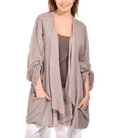 Another great find on #zulily! Beige Linen Open Cardigan - Plus Too #zulilyfinds