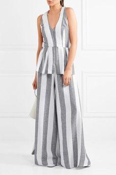 Paper London - Sunflower Cutout Striped Twill Top - Light gray - UK8