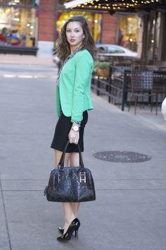 sophisticated style for work - green blazer, black pencil skirt, black heels, black handbag