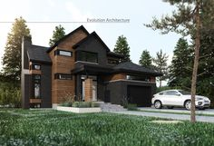 Evolution Architecture inc. Modern Exterior, Exterior Design, Evolution Architecture, Home Exterior Makeover, Suburban House, Facade House, House Goals, Cottage Homes, My Dream Home
