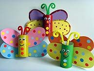 Colorful butterflies made from a toilet paper roll. Kids craft activities.