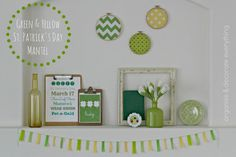 Green and Yellow St. Patrick's Day Mantel - Organize and Decorate Everything