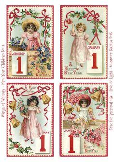 Wings of Whimsy: New Year Children No 1 #vintage #ephemera #freebie #printable #children #new #year