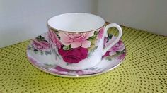 CONNOISSEUR ENGLAND BONE CHINA CAN SHAPED TEA / COFFEE CUP AND SAUCER ROSES