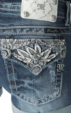 Miss Me Women's Medium Wash Spring Embellished Button Flap Denim Shorts | Cavender's - $89.50  Love these!!!