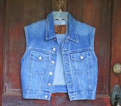 Denim Vest Vintage Blue Denim Jeans Short Sleeveless Jacket or Vest 90s Cotton Country Western Farm Size S Sm Teen Womens on Etsy, $18.00