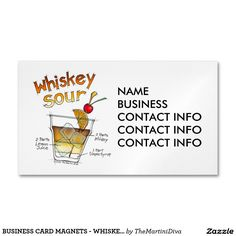 BUSINESS CARD MAGNETS - WHISKEY SOUR RECIPE ART MAGNETIC BUSINESS CARDS (Pack OF 25)