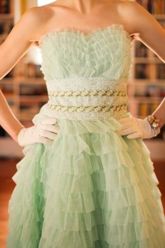 1950s Layered Mint Green Chiffon Cupcake Party Dress