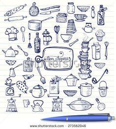 Big set of kitchen utensils sketches hand-drawn with ink. Cups, teapots, pots. bottles. chopping boards et?. Vector pen sketch illustration.