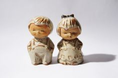 Boy Girl Salt Pepper Shaker  Natural Glaze  1960s by LuckyPatina, $20.00