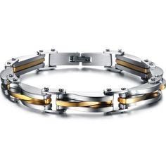 Punk Rock Heavy Metal Bracelet Silver/Gold Plated texture Stainless Steel Infinity Link Chain Bracelet Cool Men Jewelry