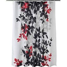 Gray Black And Red Shower Curtain