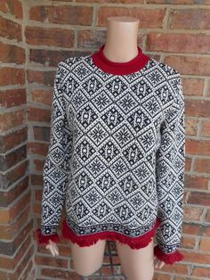 TALBOTS Women Snowflake Sweater Size M Fair Isle Nordic Ski Fringes 100% Cotton  #Talbots #Crewneck #Work