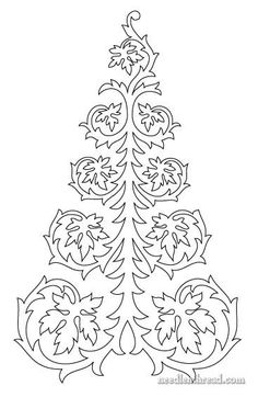 (Lots of patterns) Free hand embroidery pattern (or quilting pattern) - a continuous line drawing of a tree, with leaves. Works for fall or Christmas! Paper Embroidery, Crewel Embroidery, Hand Embroidery Designs, Cross Stitch Embroidery, Embroidery Patterns, Quilt Patterns, Hand Christmas Tree, Christmas Colors, Christmas Tag