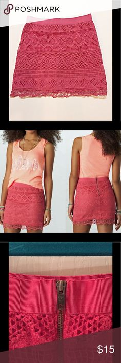 "American Eagle pink lined lace skirt. American Eagle pink lined lace skirt. Back zipper.  100% cotton. Lining 100% polyester. From waist to hem 16"" American Eagle Outfitters Skirts"