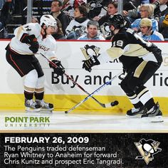 Today's @PointParkU throwback recalls when Chris Kunitz joined the Penguins. #tbt