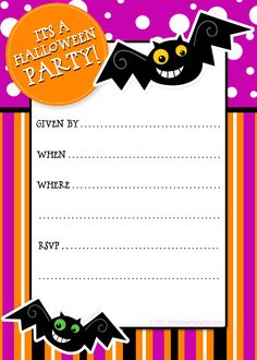 Party Planning Center: Free Printable Halloween Invitations
