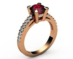 Valentines gift Ruby ring Unique engagement ring Solid Gold