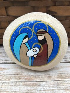 Holy Family Nativity Paperweight Nativity Rock Christmas Small Teal Royal Decorative Stone Nativity Set By Cindy Thomas Nativity Rock Painted Rocks Rock Painting Ideas Easy Unique Painted Rock Nativity Sets…Read more of Painted Rock Nativity Christmas Rock, Christmas Nativity, Diy Christmas Ornaments, Christmas Decorations, Felt Ornaments, Etsy Christmas, Christmas Bells, Rock Painting Designs, Rock Painting Ideas Easy