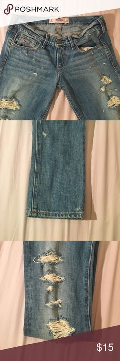 Hollister Jeans!! Blue Hollister Boyfriend Jeans! Barely Worn. Intentional Rips along both sides of the legs. Hollister Jeans Boyfriend