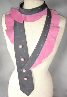Textile Necklace from Upcycled Necktie And Salvaged Pink Leather