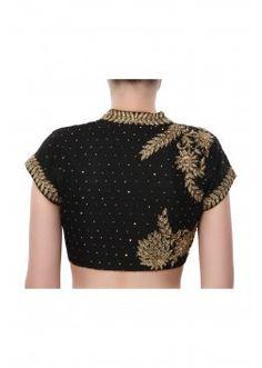 Black blouse adorn in zardosi embroidery only on Kalki