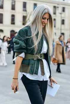 A belted military jacket. Love it.