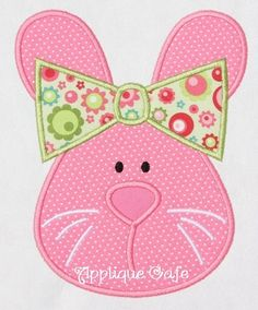 285 Girl Bunny  Machine Embroidery Applique Design. $4.00, via Etsy.
