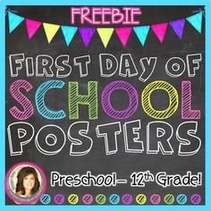 These First Day of School Posters: Chalkboard & Brights Freebie are sure to brighten up the first day of school! Simply print, laminate, and use them as photo props as you document your students' first day! Snap a photo of each student holding the sign. 1st Day Of School, Beginning Of The School Year, School Days, School 2017, School Fun, School Stuff, New Classroom, Classroom Themes, Chalkboard Classroom