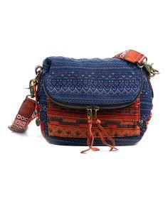 Look what I found on #zulily! TSD Orange & Navy Geometric Secret Crossbody Bag by TSD #zulilyfinds