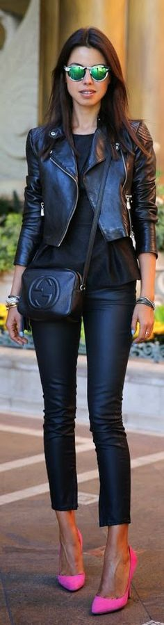 Gucci Black Leather Outfit @Tiffany K this is SO you, and you already have the pink stilettos ;)