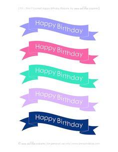 {Free Printable} Happy Birthday Cake Banners