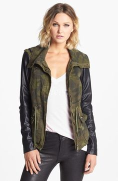 BCBGeneration Mixed Media Jacket available at #Nordstrom    Normally I'm  not a fan of camouflage but I kind of like this coat.
