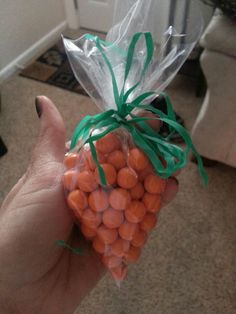 Made these last year for Easter..I think from Martha Stewart.  Found the orange candies at AC Moore and used sandwich bags!  Easy and so cute (and look like carrots lol)