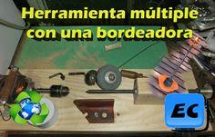Herramienta casera con una bordeadora o cortadora de pasto rota Reciclado