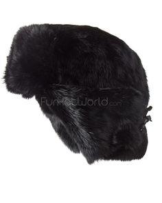 05c4487e63553 Black Rabbit Fur Russian Ushanka Hat for Men