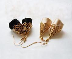 Ethnic Gold Filigree Earrings - Gold dangle earrings, Gold and black earrings, Ethnic earrings, Arabesque and Satin EarringsValentine on Etsy, $29.00