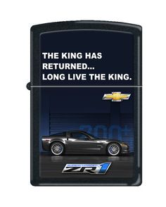 """It was a lot of fun to arrange and typeset the licensed artwork for these """"billboard advertising"""" designs for Chevy -- Zippo Lighter Chevy Corvette Billboard """"The King Has Returned"""" Black Matte 