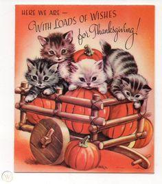 Vintage Rust Craft Thanksgiving Greeting Card Cats Kittens Pumpkins Wagon 1950's | #1829442174