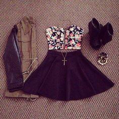 PARTY: black skater skirt // floral crop bandeau // long necklace // black…