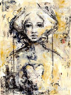 """born of spirit"" mixed media artwork on canvas board - collage, acrylic, vine charcoal and pastel. Toni Burt"