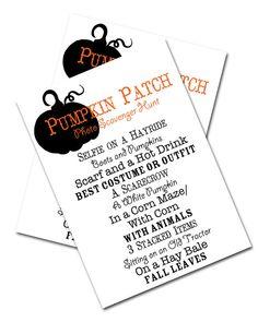 Pumpkin Patch Photo Scavenger Hunt by SimplicitybyMonique on Etsy