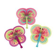 $3.50 / dozen Oriental Trading  Colorful+Butterfly-Shaped+Folding+Fans+-+OrientalTrading.com
