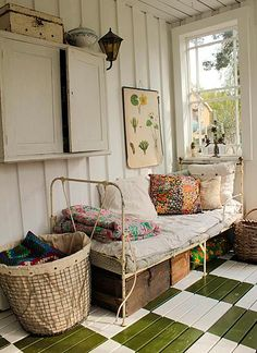 sleeping porch with an iron bed Home Interior, Interior Design, Bathroom Interior, Interior Ideas, Interior Inspiration, Interior Decorating, Decoration Shabby, Decorations, Sleeping Porch