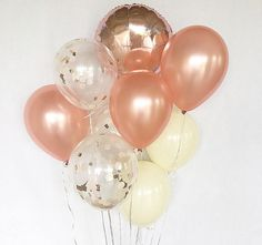 rose gold and gold balloons Glitter Ballons, Gold Confetti Balloons, Navy Bridal Parties, Shower Rose, Baby Shower, Rose Gold Theme, Love Balloon, Balloon Ideas, Gold Bridal Showers