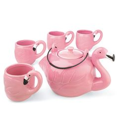 Pink Flamingo tea set, Kitschy yes? This belongs in my life.