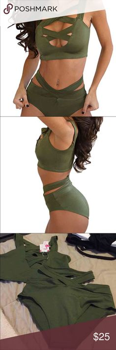 Army Green Sexy High Waisted Cross Crop Top Bikini Fits amazing!! Just bought two on accident- it's my absolute favorite bathing suit!!! **not listed brand- only for exposure PINK Victoria's Secret Swim Bikinis