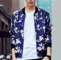 1e3ffb936f0 Navy plant floral bird bomber jacket for men zipper baseball jacket
