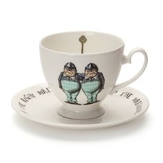 This fine bone china teacup & saucer set is decorated with the iconic Tweedledee & Tweedledum design, from the classic Alice in Wonderland stories. The set by Mrs Moore Vintage Store is made in the UK and comes in a gift box.